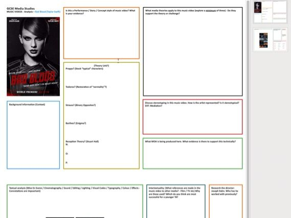 Taylor Swift [Bad Blood] Music Video Case Study Worksheet [Double Sided] PDF A3 (Scalable)