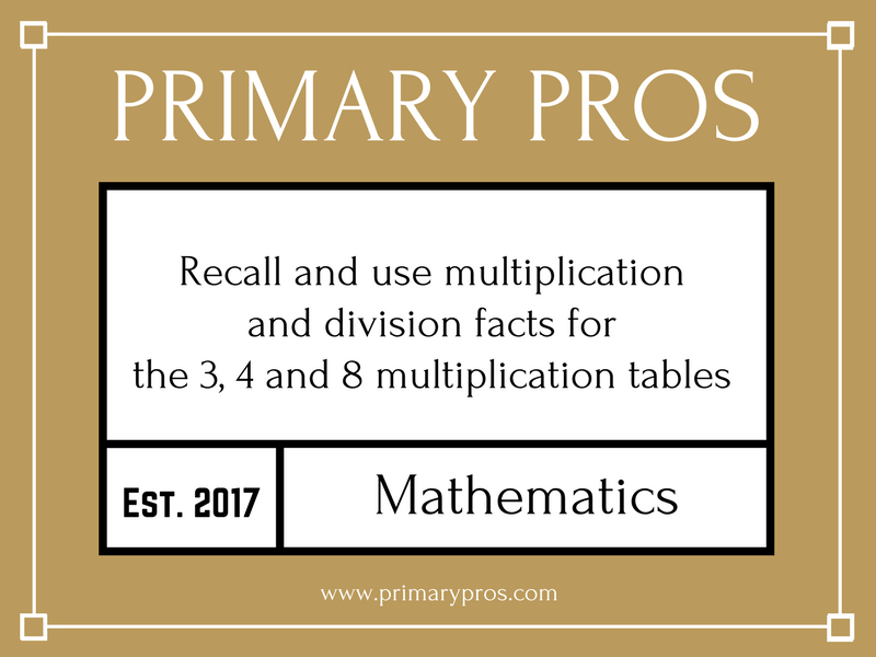 Recall and use multiplication and division facts for the 3, 4 and 8 multiplication tables