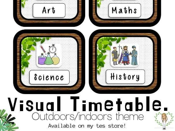 VISUAL TIMETABLE outdoors/indoors theme