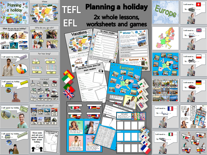 Going on Holiday (Vacation): 2x whole lessons, activities and worksheets EFL TEFL