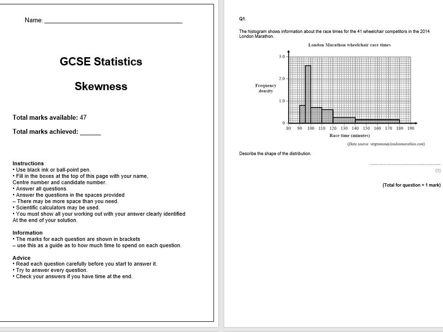 Skewness Exam Questions (GCSE Statistics)