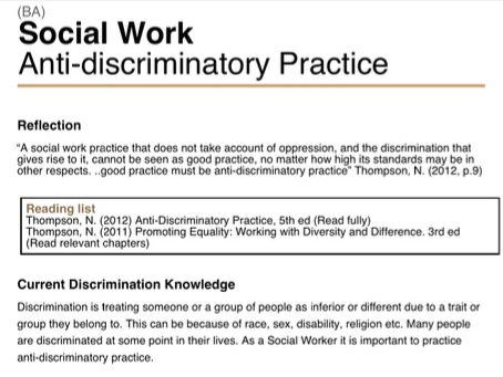 anti discriminatory practice 3 essay By promoting anti-discriminatory practice and doing an inclusive practice, we are promoting that every child: is not excluded, is valued, has a sense of belonging and have access to participation in the full educational program within a good school environment.