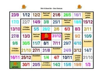 Datum (Date in German) Schnecke Snail game