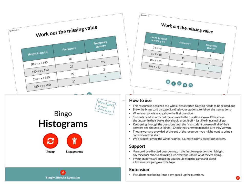 Histograms (Bingo)