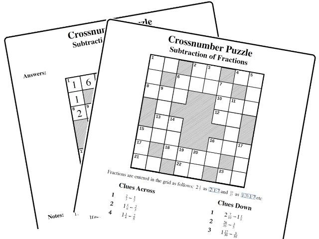 Crossnumber Puzzle: Subtraction of Fractions