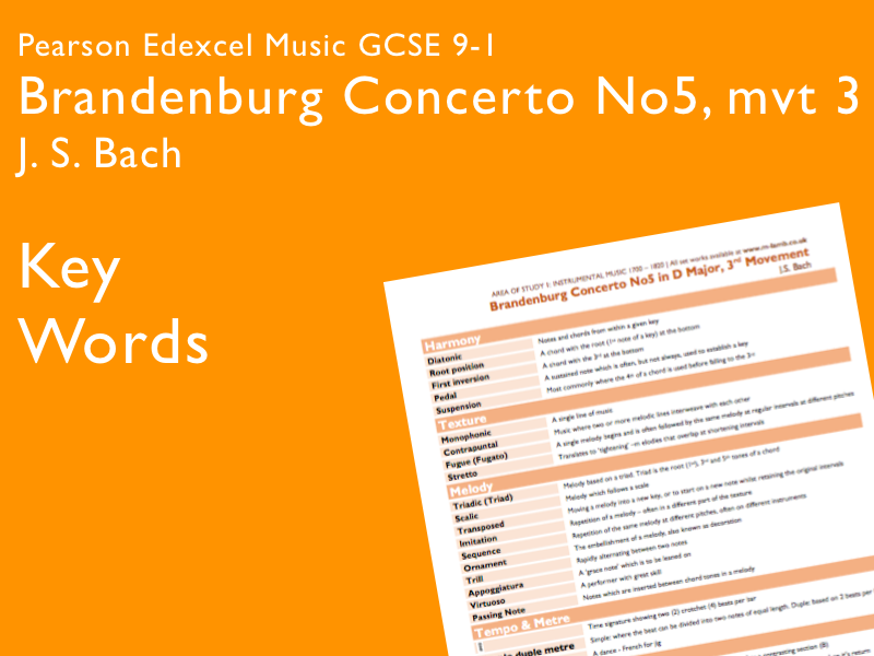Bach - Brandenburg Concerto 5, mvt 3 | Edexcel Pearson GCSE Music 9-1 | Key Words