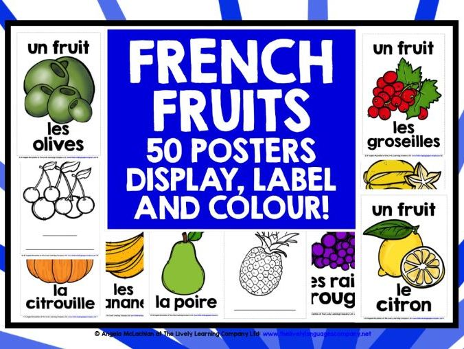 PRIMARY FRENCH FRUITS DESIGN POSTERS