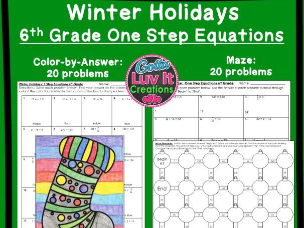 One Step Equations No Negatives Winter Bundle - Maze & Color by Number
