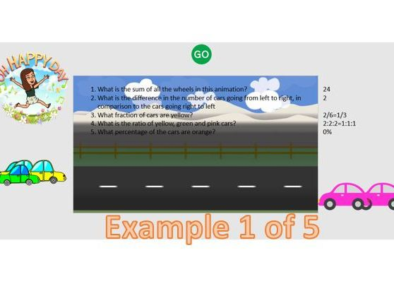 Interactive, Engaging Car Activity including Fractions, Decimals, Percentages and Probability,