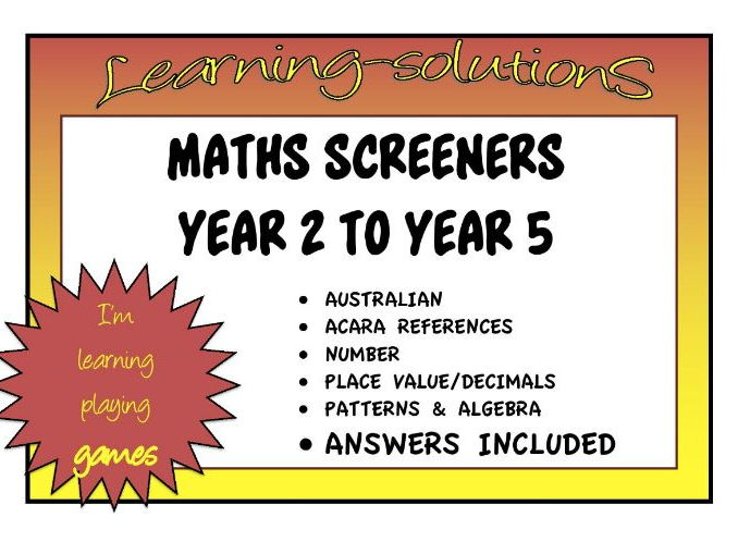 MATHS SCREENERS for DIFFERENTIATION - Years 2 to 5 - Place Value/Number/Decimals/Patterns/Algebra