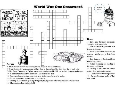 WW1 Crossword Puzzle on Terms and Concepts