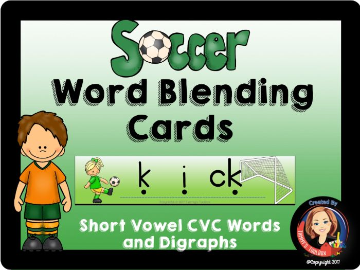 Soccer Blending Cards for CVC Words and Digraphs
