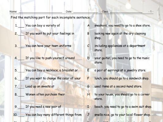 Store-Shops Sentence Match Worksheet