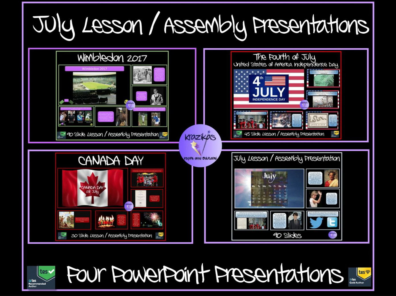 Four July PowerPoint Lesson / Assembly Presentations Bundle - Canada Day, American Independence Day, Wimbledon, The Month of July