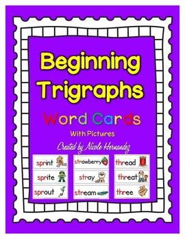 Phonics Flashcards - Beginning Trigraphs
