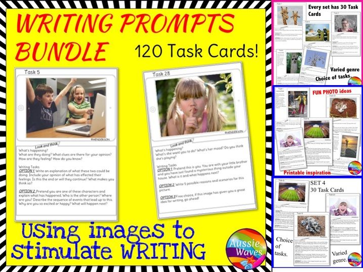 WRITING 120 Task Cards IMAGE PROMPTS BUNDLE Writing Varied Genre for Writing Activity Centres