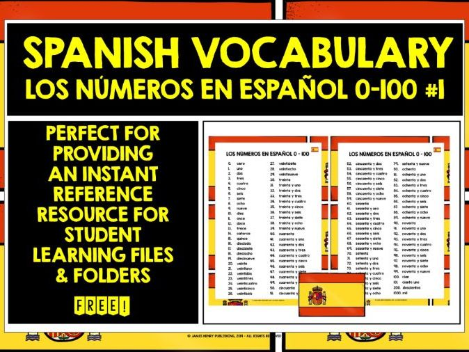SPANISH NUMBERS 0-100 LIST #1