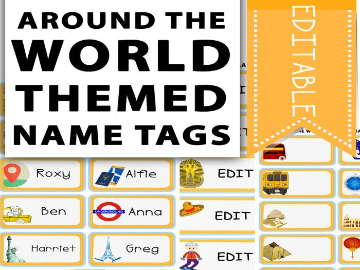 Around The World Themed Name Tags
