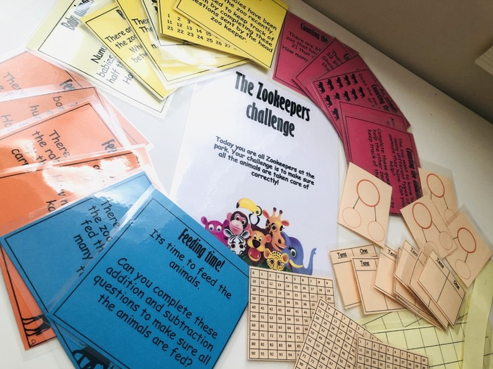 Year 1 Additional and subtractions word problems and tool kit- The Zookeepers challenge