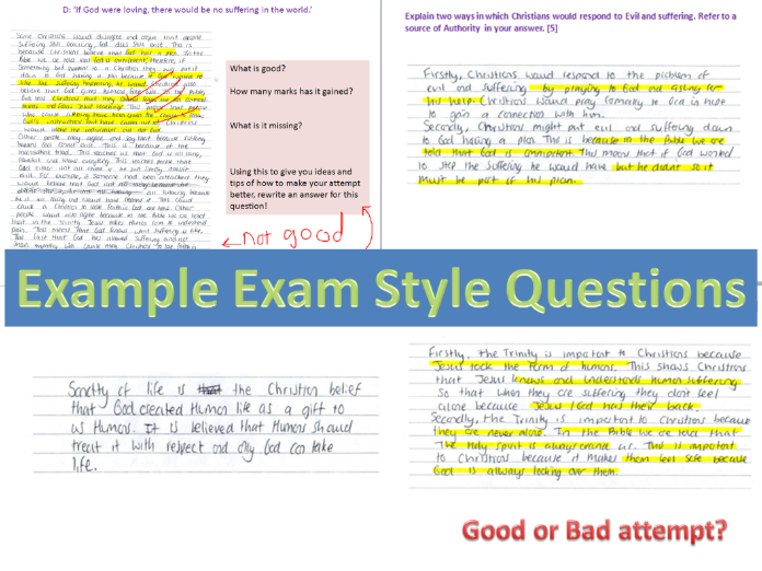 GCSE New spec religious education exam questions *Christianity*