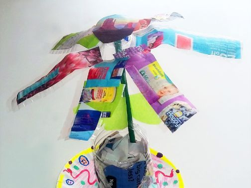 Recycled Collage Bottle Spring Flowers