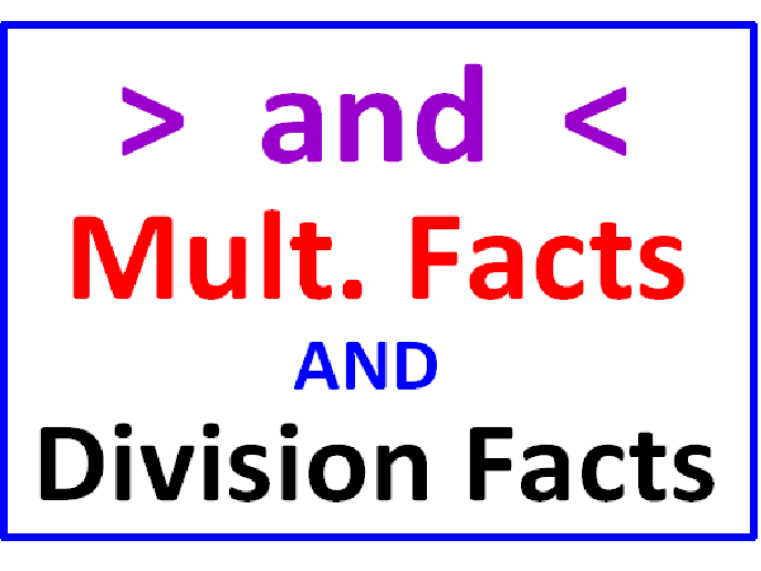 Greater Than Less Than Multiplication Facts AND Division Facts (5 Worksheets)