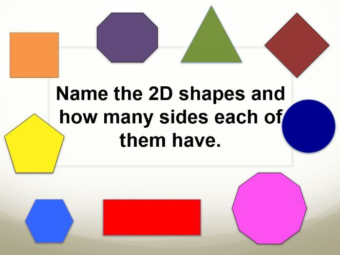 2D shapes. Name the shape and identify the number of sides.