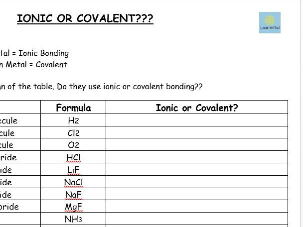 Ionic or Covalent? worksheet  GCSE Chemistry\/ Combined Science 91 by lindseycowen