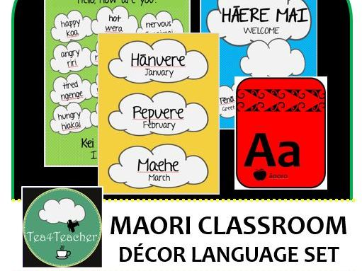 Maori Language Classroom Decor Set  - Word & Phrase Posters, Birthday Chart, Alphabet, Days of Week+