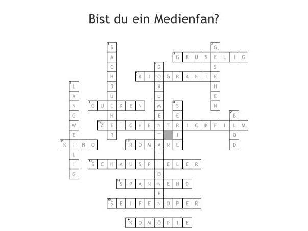 Bist du ein Medienfan? - Crossword