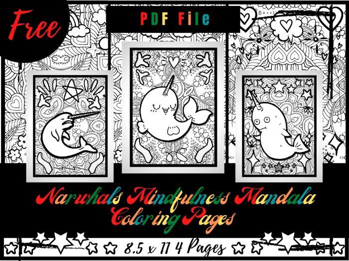 FREE Narwhals Mindfulness Mandala Coloring Pages, Sea Animals Coloring Printable
