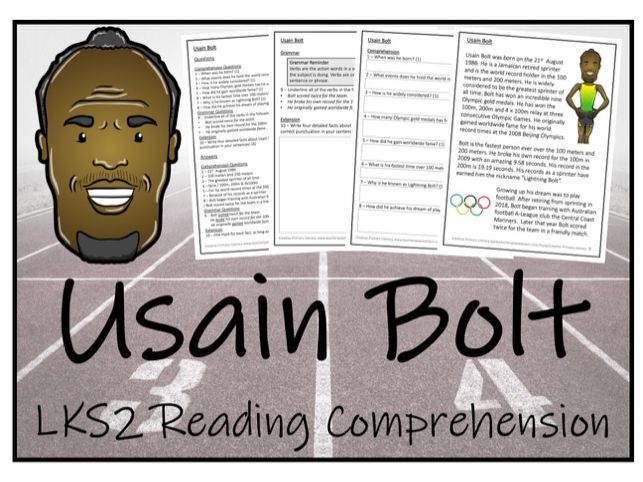 LKS2 Literacy - Usain Bolt Reading Comprehension Activity