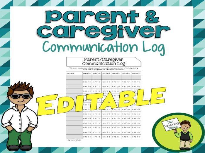 Parent Communication Log USA - Editable
