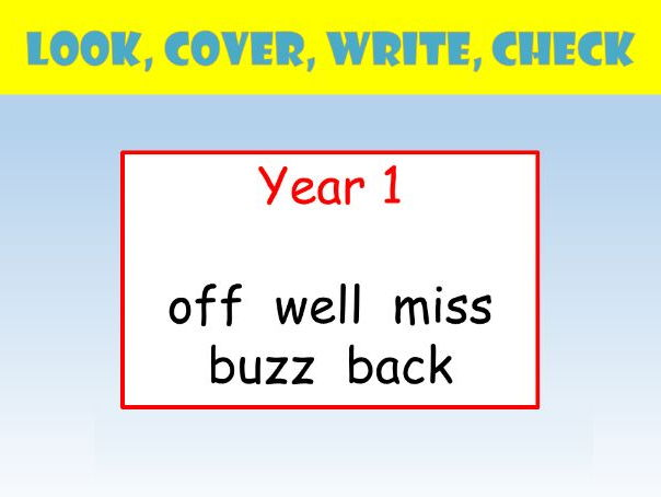 Y1 English Spelling PowerPoint:  Look Cover Write Check (terminal double consonants).