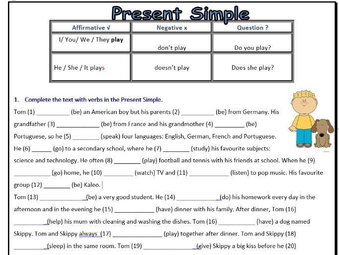 present simple worksheet - esl  negative