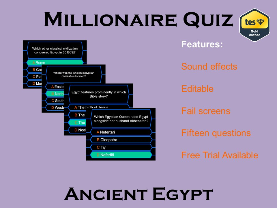 Millionaire Quiz Ancient Egypt Edition By Galvaniseedu Teaching