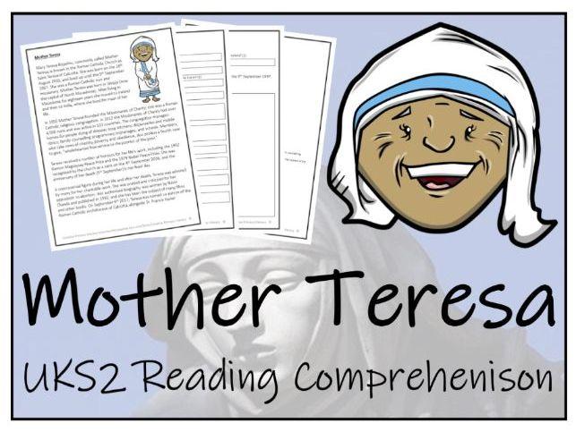 UKS2 Mother Teresa Reading Comprehension Activity