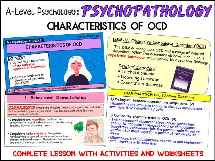 A-Level Psychology - CHARACTERISTICS OF OCD (Year 1 Psychopathology)