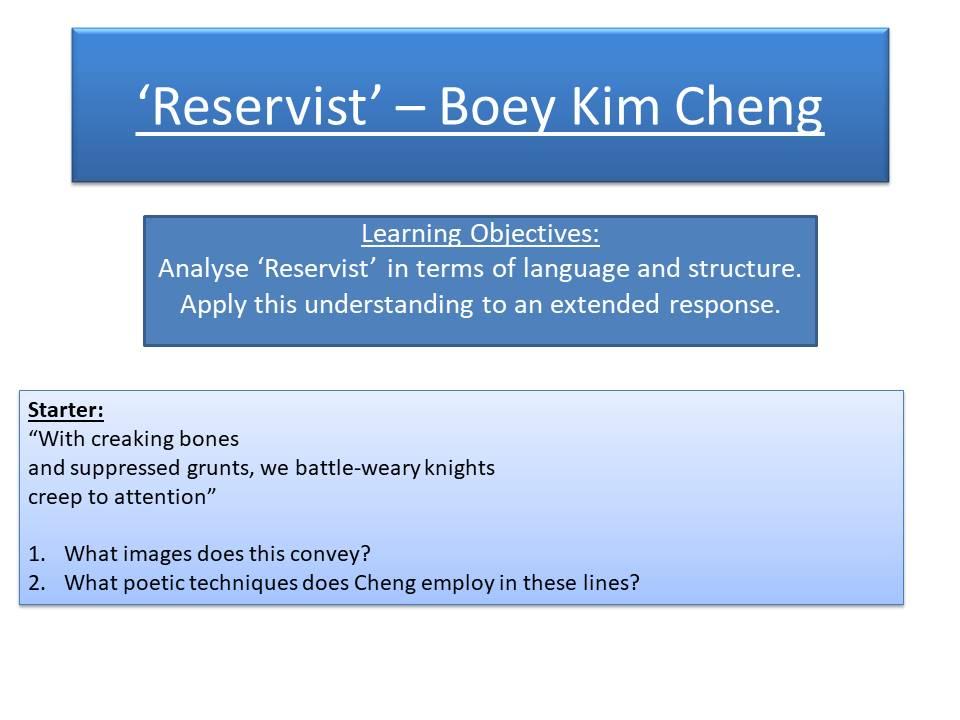 'Reservist' - Boey Kim Cheng