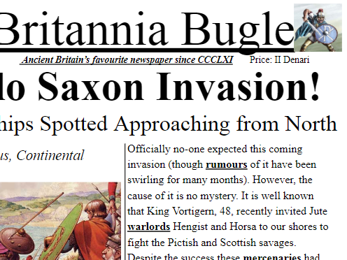 Anglo Saxon Invasion Newspaper Article Example KS2