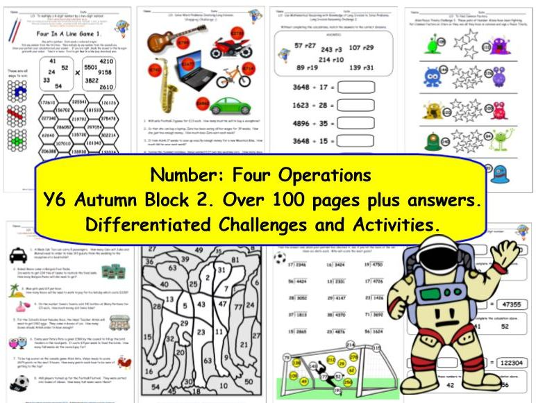 Number: Four Operations Y6 Autumn Block 2 Challenges, Activities & Presentations