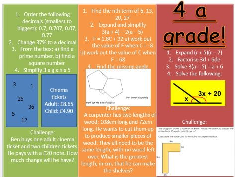 New GCSE foundation differentiated starter activity (7-8)