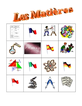 Matières (School subjects in French) Bingo game