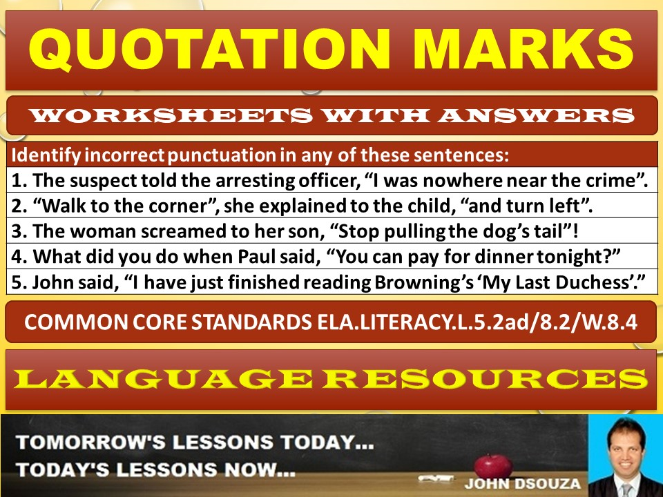QUOTATION MARKS WORKSHEETS WITH ANSWERS