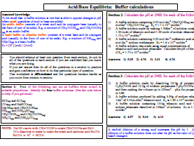 Acid and base equilibria - buffer calculations