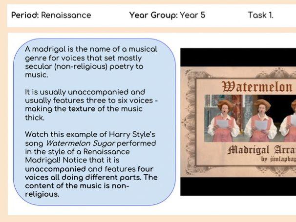 KS2 History of Music: Renaissance Era