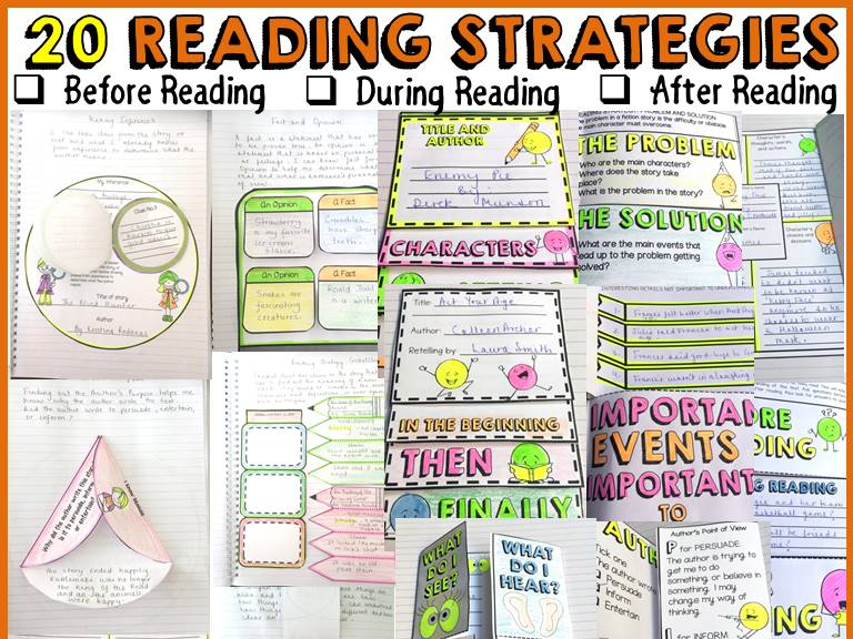 READING STRATEGIES: INTERACTIVE NOTEBOOK FOLDABLES/TEMPLATES