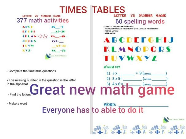 GREAT NEW MATH GAME number VS letter