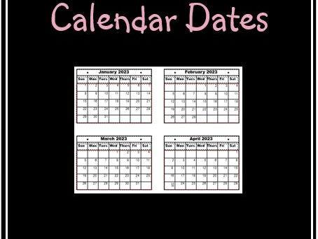 Calendar Dates Jan 2023 to Dec 2027