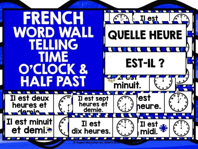 PRIMARY FRENCH TELLING TIME WORD WALL